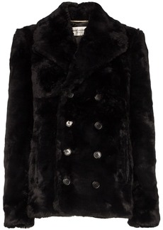 Saint Laurent faux fur peacoat