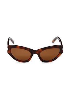 Saint Laurent Faux Tortoiseshell 54MM Cat Eye Sunglasses