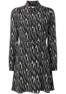 Saint Laurent feather print shirt dress