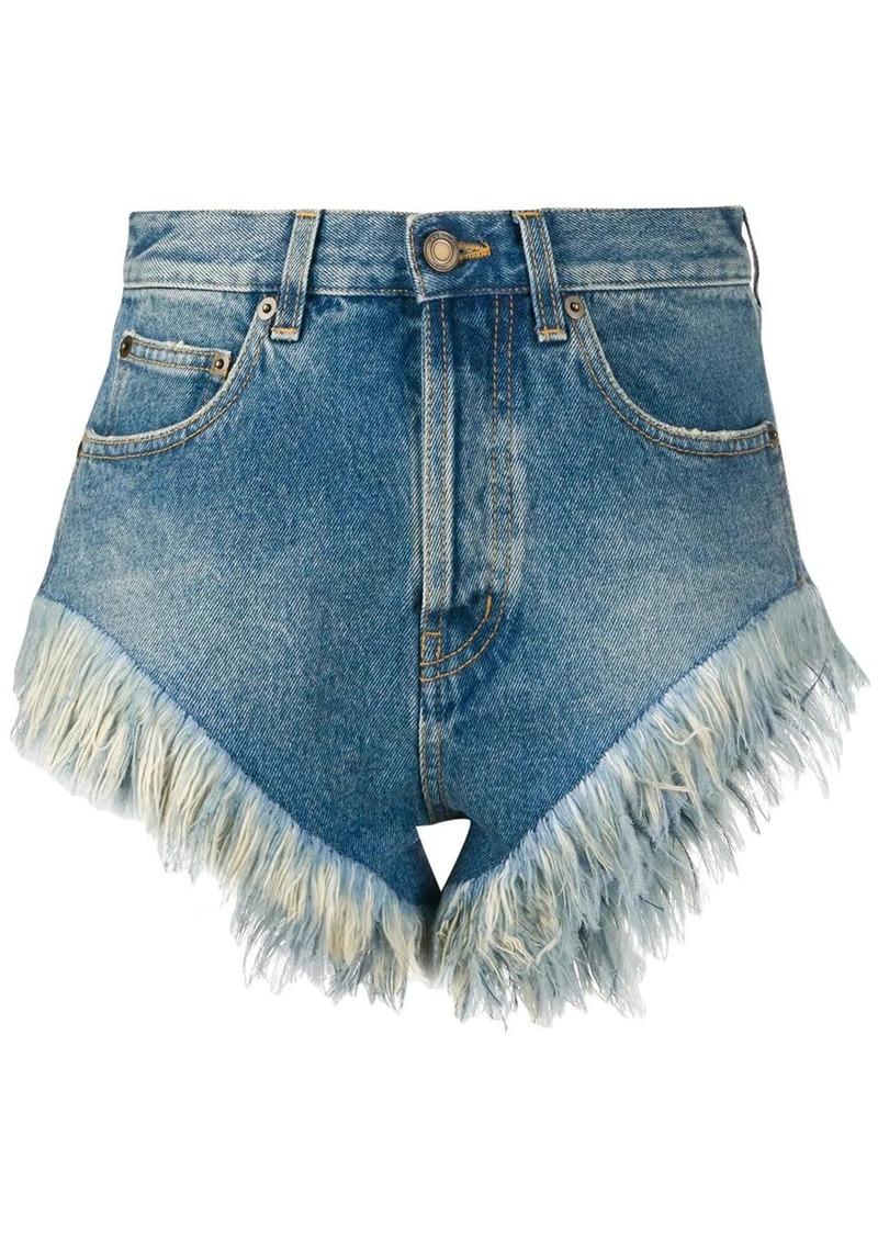 Saint Laurent feather trim denim shorts