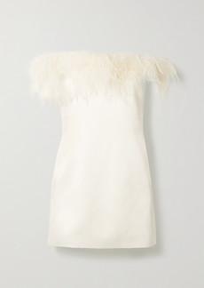 Saint Laurent Feather-trimmed Satin-crepe Mini Dress