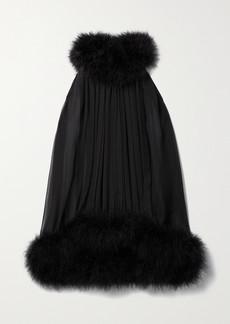 Saint Laurent Feather-trimmed Silk-chiffon Halterneck Top