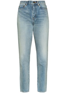 Saint Laurent faded carrot-fit jeans