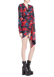 Saint Laurent Floral Print Jacquard Mini Dress