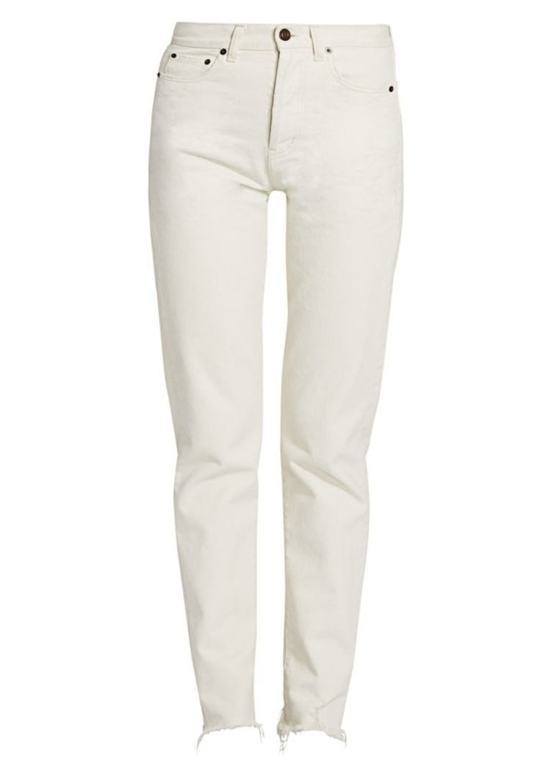 Saint Laurent Frayed Hem Mid-Rise Jeans