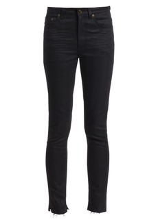 Saint Laurent Frayed Hem Skinny Crop Jeans