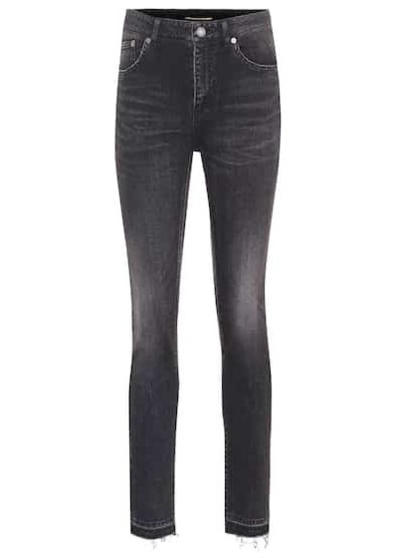 Saint Laurent Frayed high-rise skinny jeans