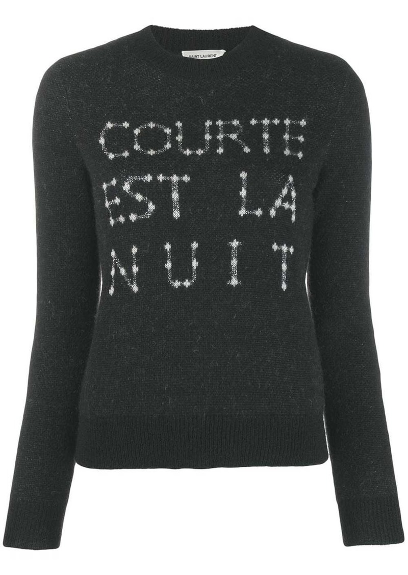 Saint Laurent French slogan intarsia sweater