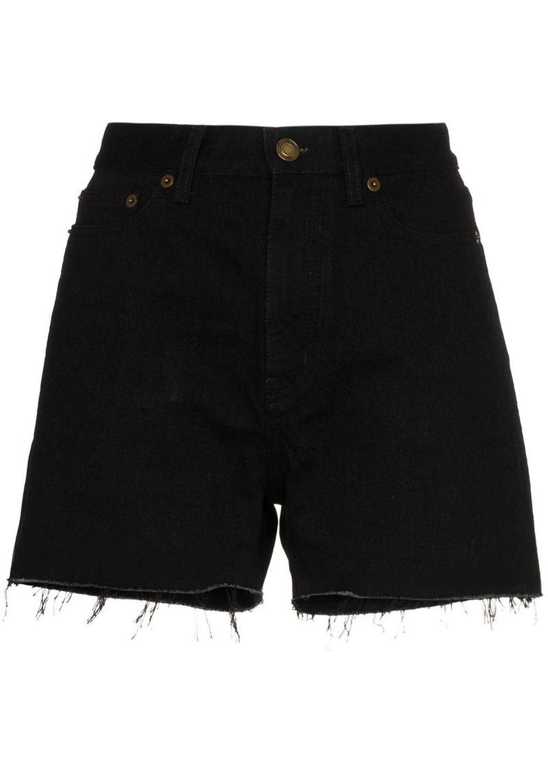 Saint Laurent fringed denim shorts