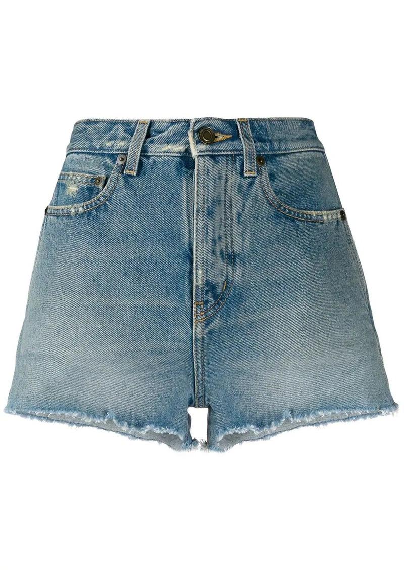 Saint Laurent fringed hem denim shorts