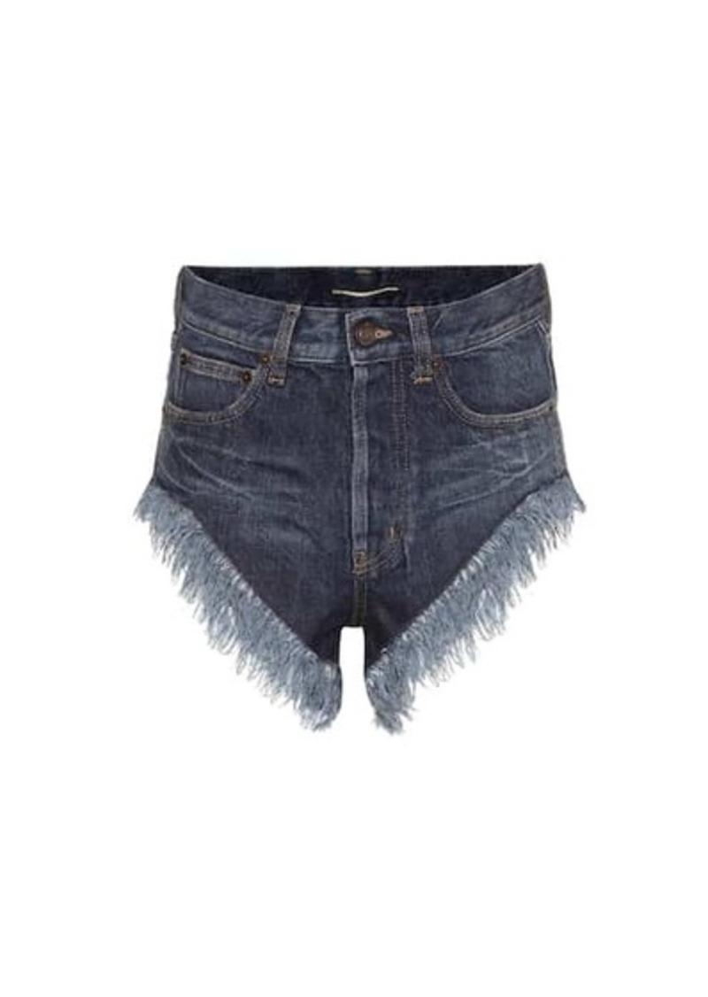 Saint Laurent Fringed high-rise denim shorts