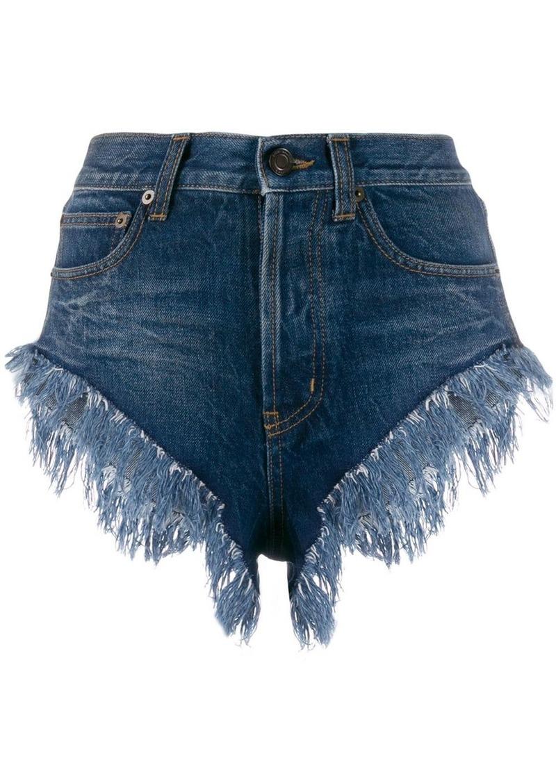 Saint Laurent fringed short denim shorts