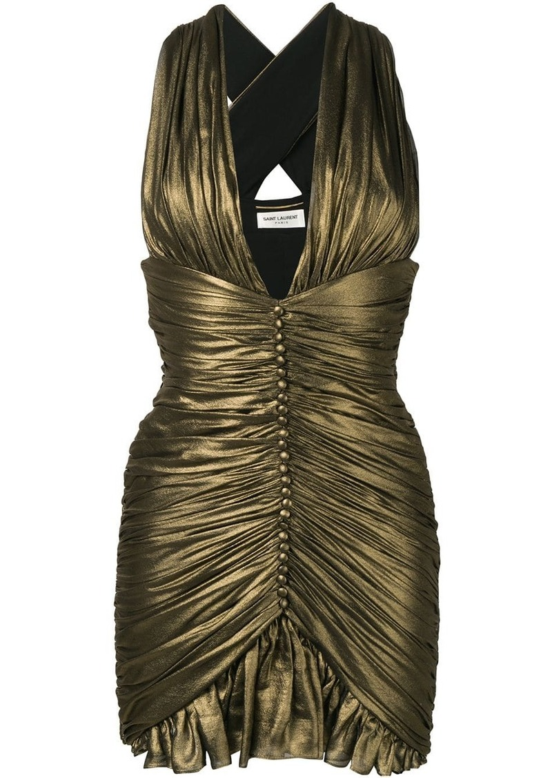 Saint Laurent Gathered dress in crepe chiffon