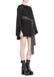 Saint Laurent Georgette Balloon Sleeve Mini Dress