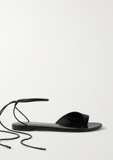 Saint Laurent Gia Lace-up Leather Sandals
