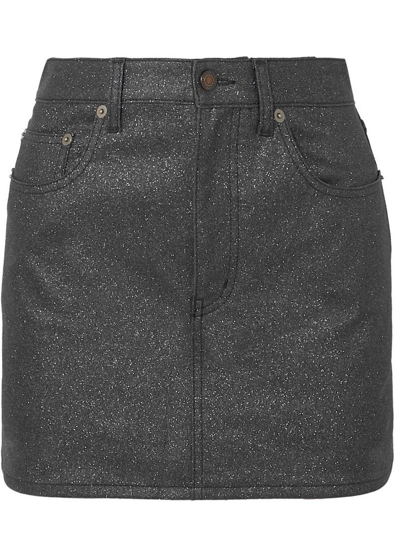 Saint Laurent Glittered-denim Mini Skirt