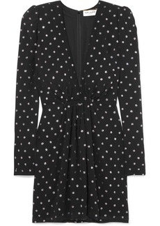 Saint Laurent Glittered Polka-dot Crepe Mini Dress