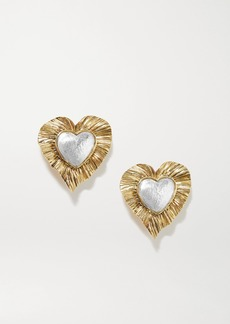 Saint Laurent Gold And Silver-tone Clip Earrings
