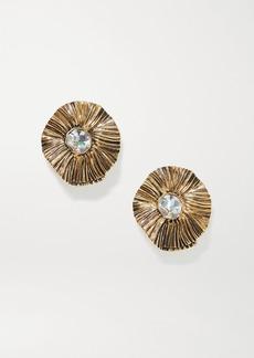 Saint Laurent Gold-tone Crystal Clip Earrings