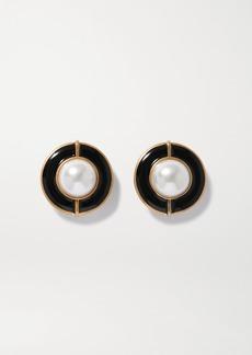 Saint Laurent Gold-tone Enamel And Faux Pearl Clip Earrings