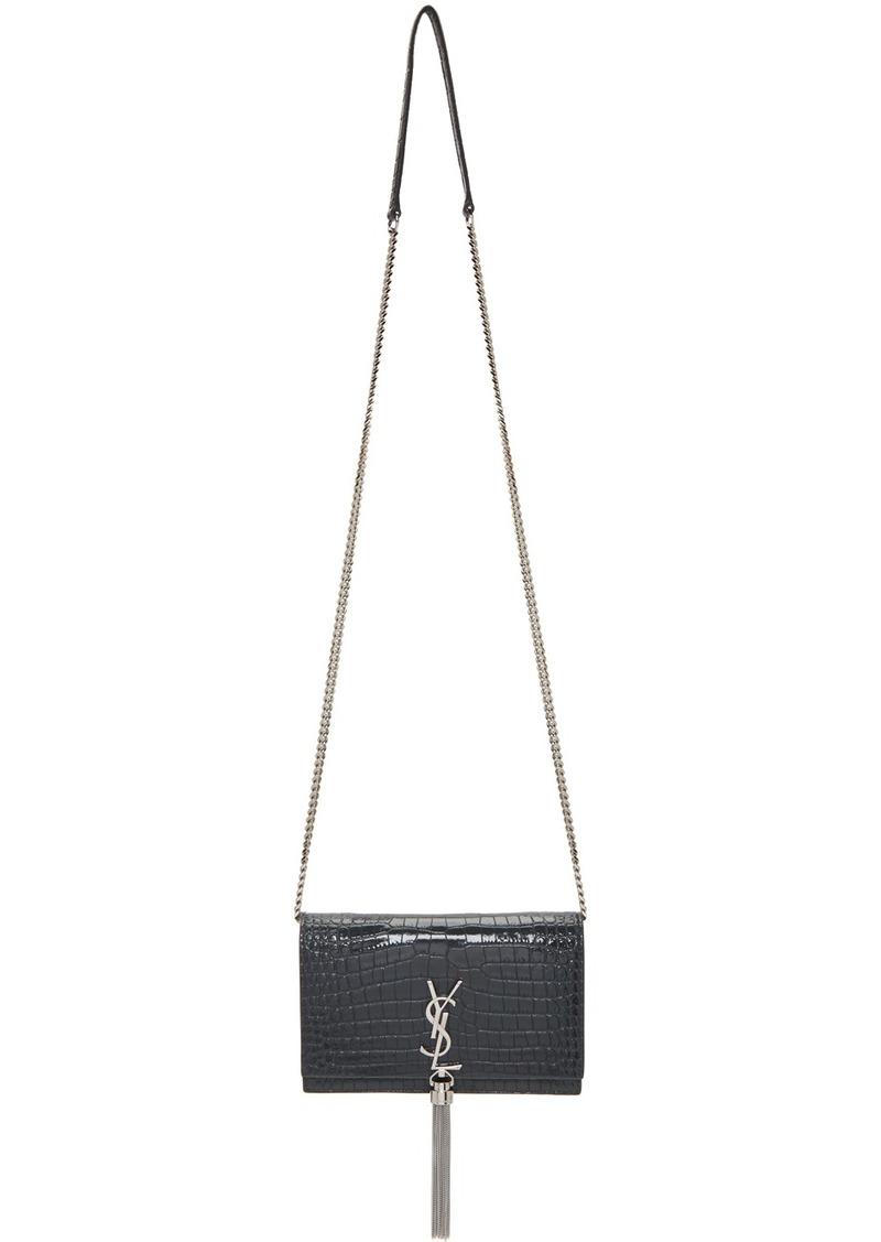 Saint Laurent Grey Croc Kate Tassel Chain Wallet Bag