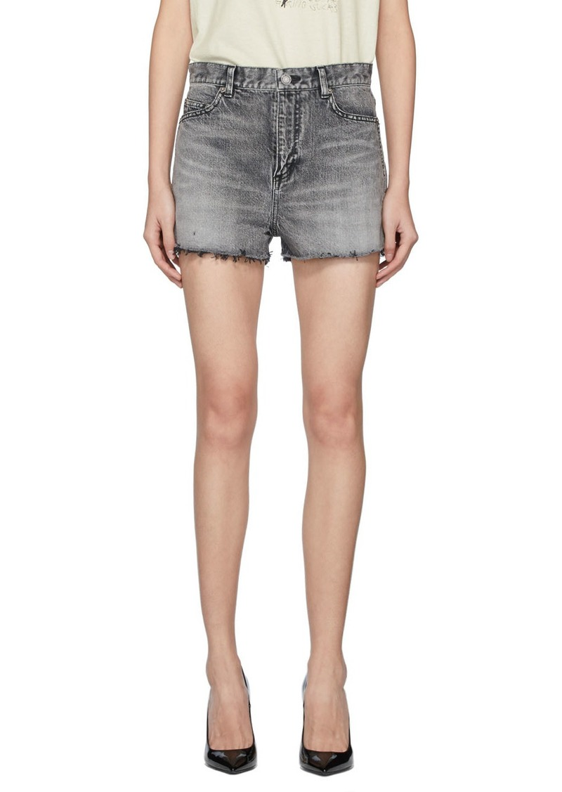 Saint Laurent Grey Denim Baggy Raw Edge Shorts