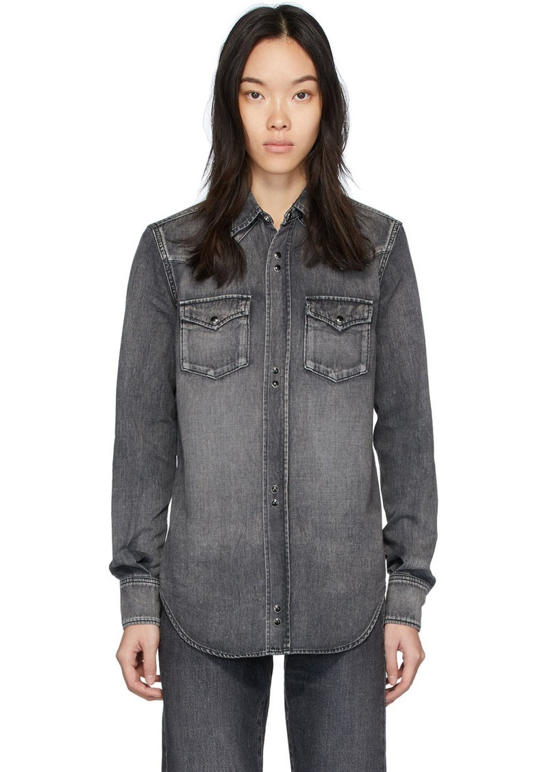 Saint Laurent Grey Denim Destroyed Shirt