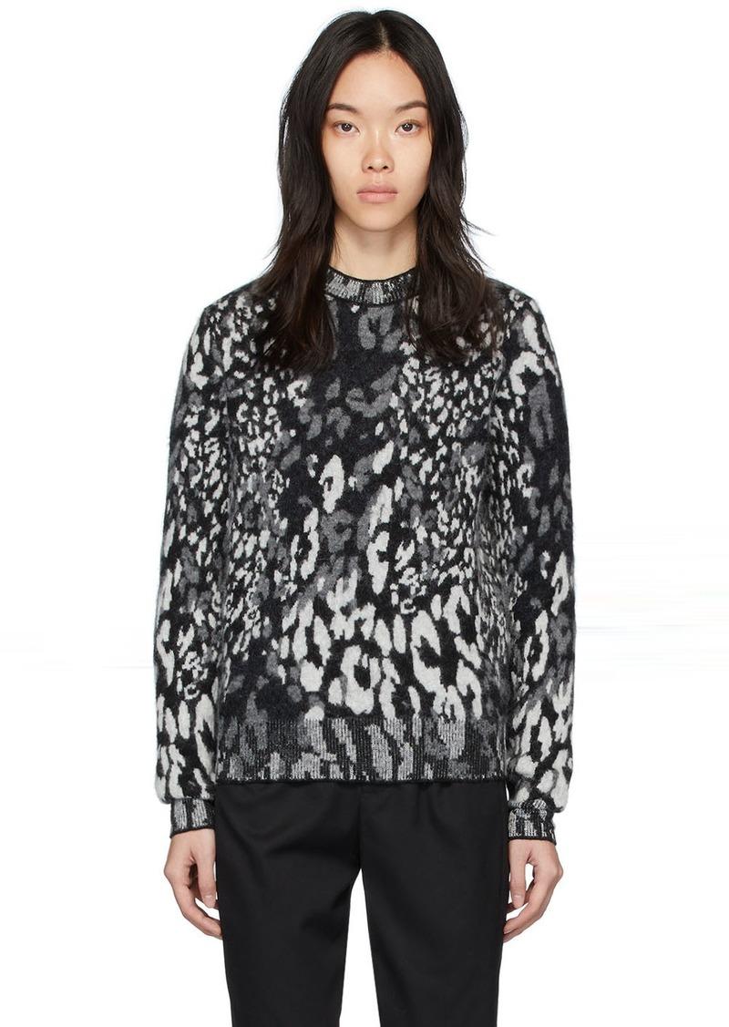 Saint Laurent Grey Leopard Jacquard Sweater