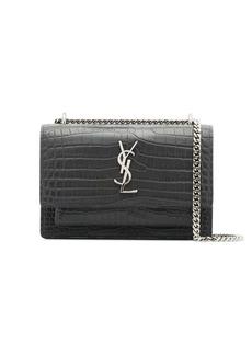 Saint Laurent Grey Sunset Monogram Leather Chain Wallet