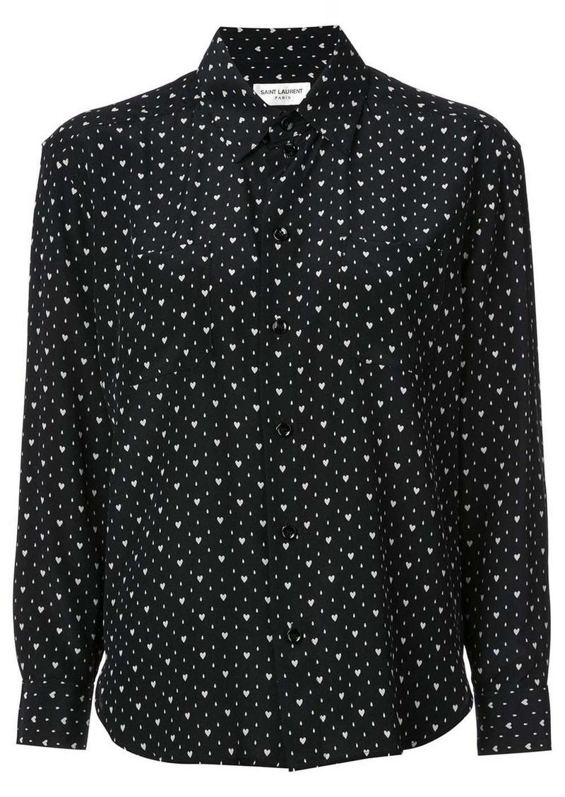 Saint Laurent heart print shirt