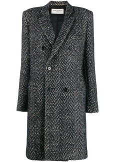 Saint Laurent herringbone double-breasted coat