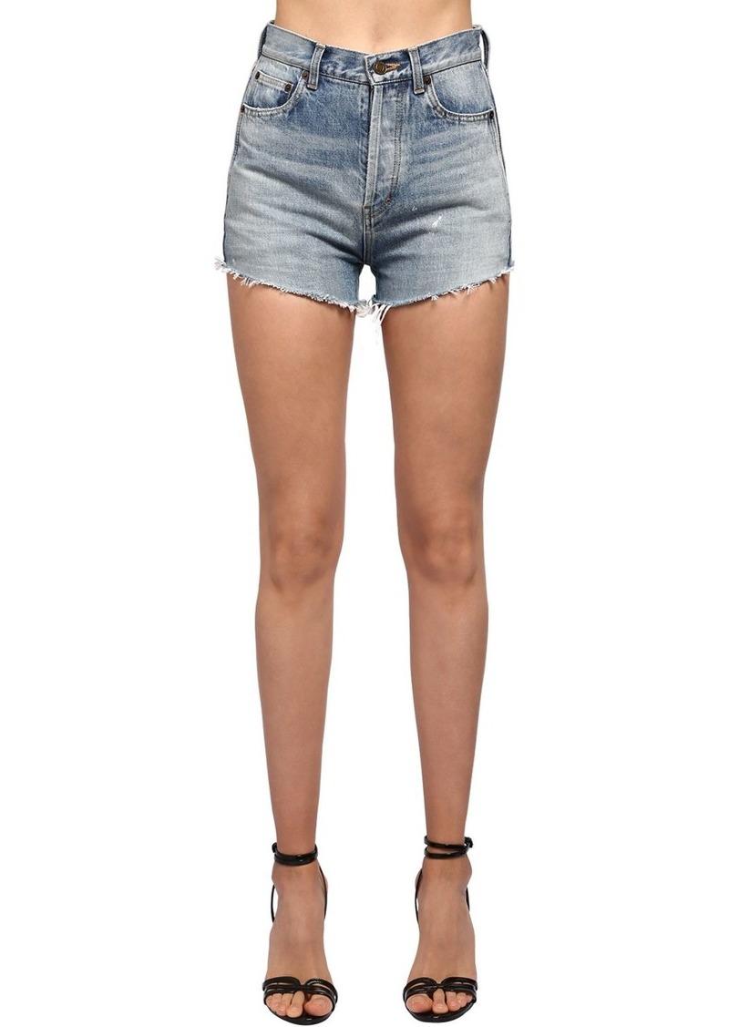 Saint Laurent High Waist Cotton Denim Shorts