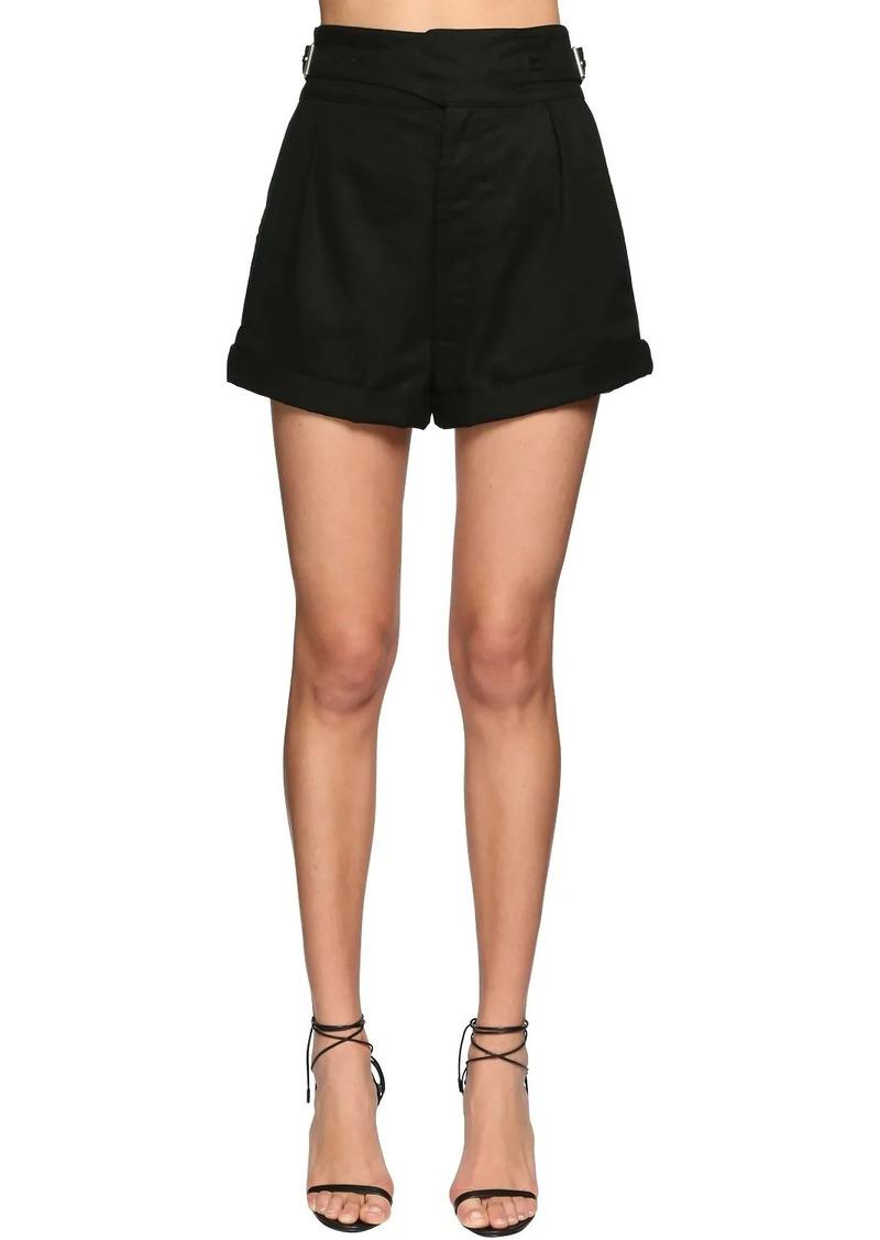Saint Laurent High Waist Cotton Gabardine Mini Shorts