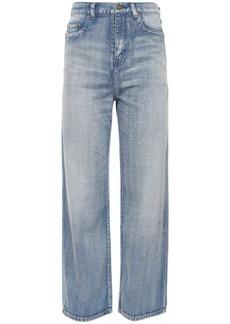 Saint Laurent High Waist Cropped Cotton Denim Jeans