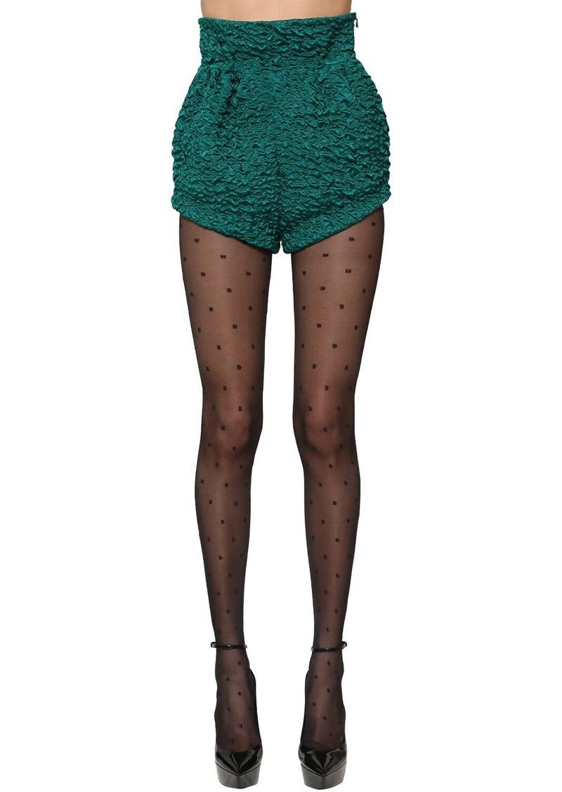 Saint Laurent High Waist Silk Satin Shorts