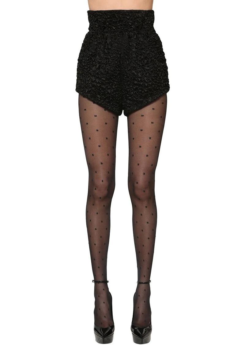 Saint Laurent High Waist Viscose & Silk Satin Shorts