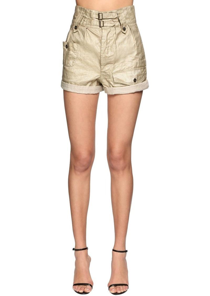 Saint Laurent High Waist Waxed Denim Shorts