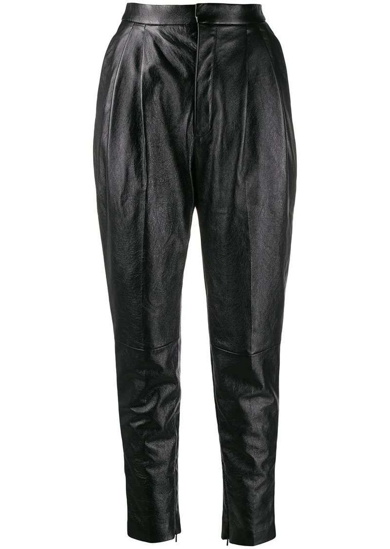 Saint Laurent high waisted leather trousers