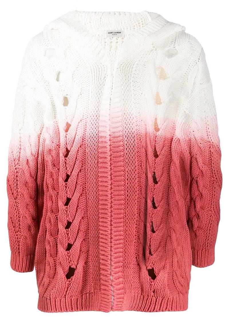 Saint Laurent hooded gradient chunky cardigan