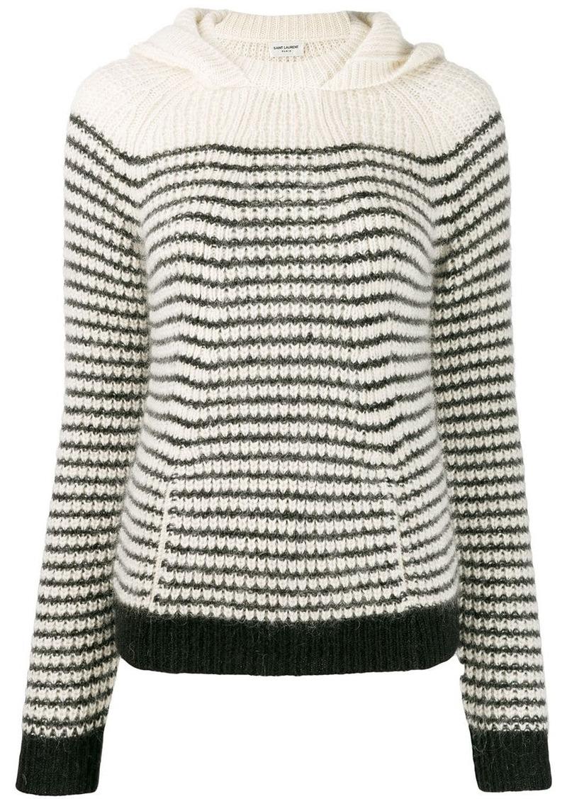 Saint Laurent hooded stripe jumper