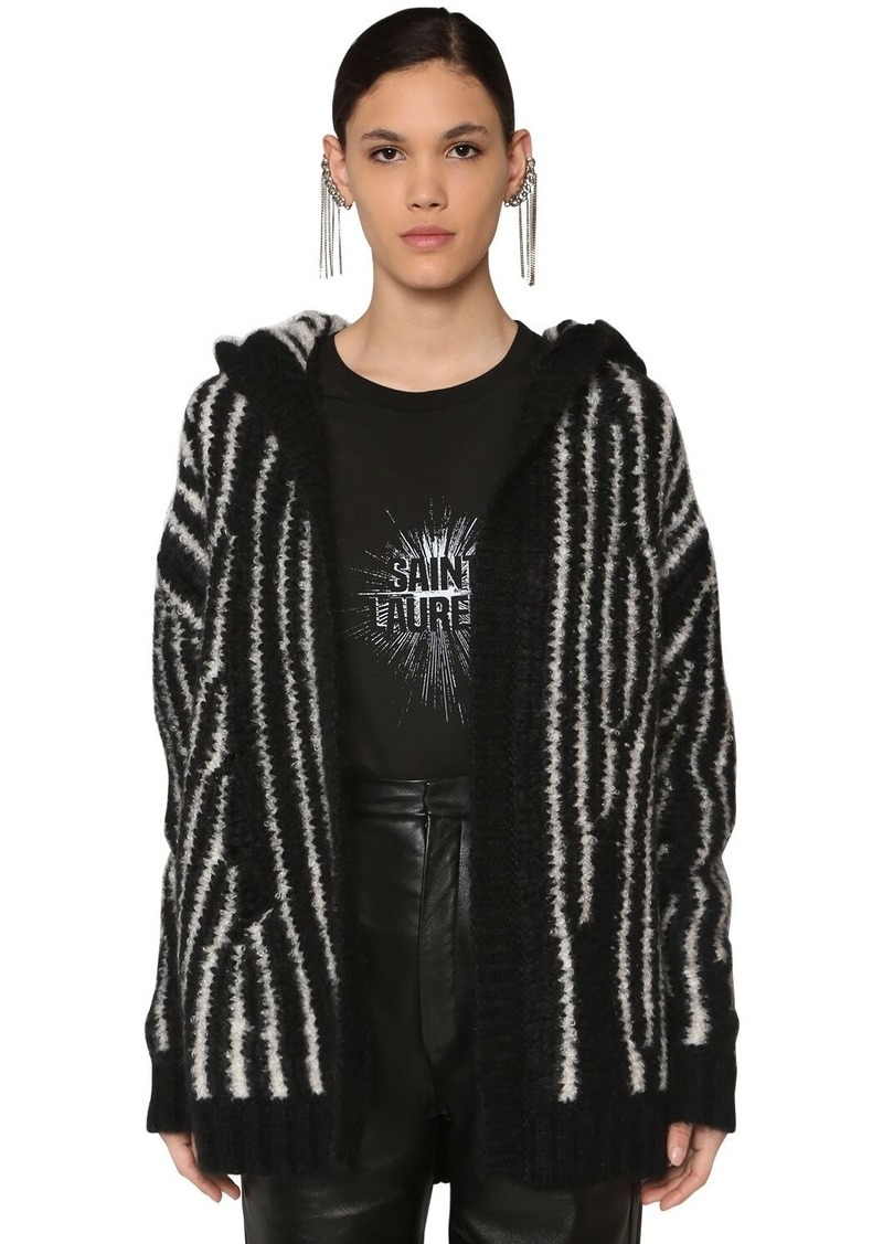 Saint Laurent Intarsia Mohair Blend Knit Cardigan