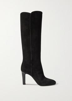 Saint Laurent Jane Logo-embellished Suede Knee Boots