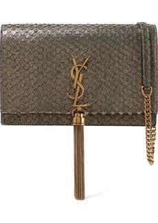 Saint Laurent Kate Small Snake-effect Metallic Suede Shoulder Bag