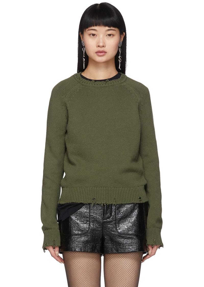 Saint Laurent Khaki Used Knit Sweater