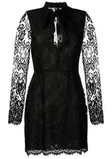 Saint Laurent lace-embellished mini dress
