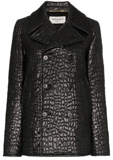 Saint Laurent lacquered crocodile-style pea coat