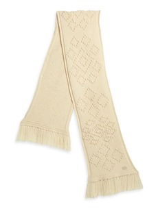 Saint Laurent Large Fringed Cable-Knit Wool Scarf
