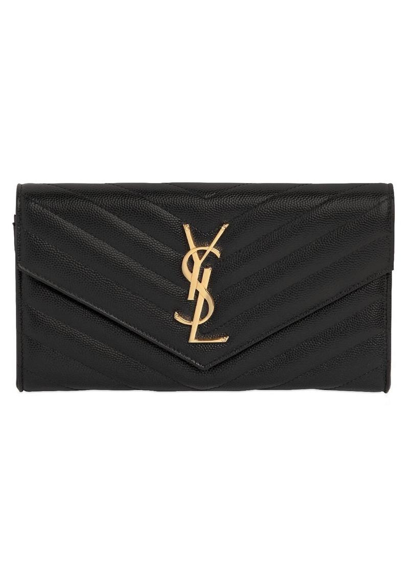 Saint Laurent Large Monogram Quilted Leather Wallet