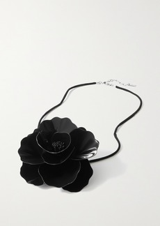 Saint Laurent Large Silver-tone Patent-leather And Silk Choker