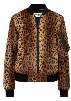 Saint Laurent Leather-trimmed Leopard-print Goat Hair Bomber Jacket